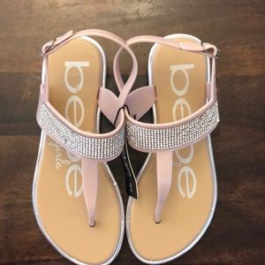 bebe girls rhinestone sandals size 4/5 NEW